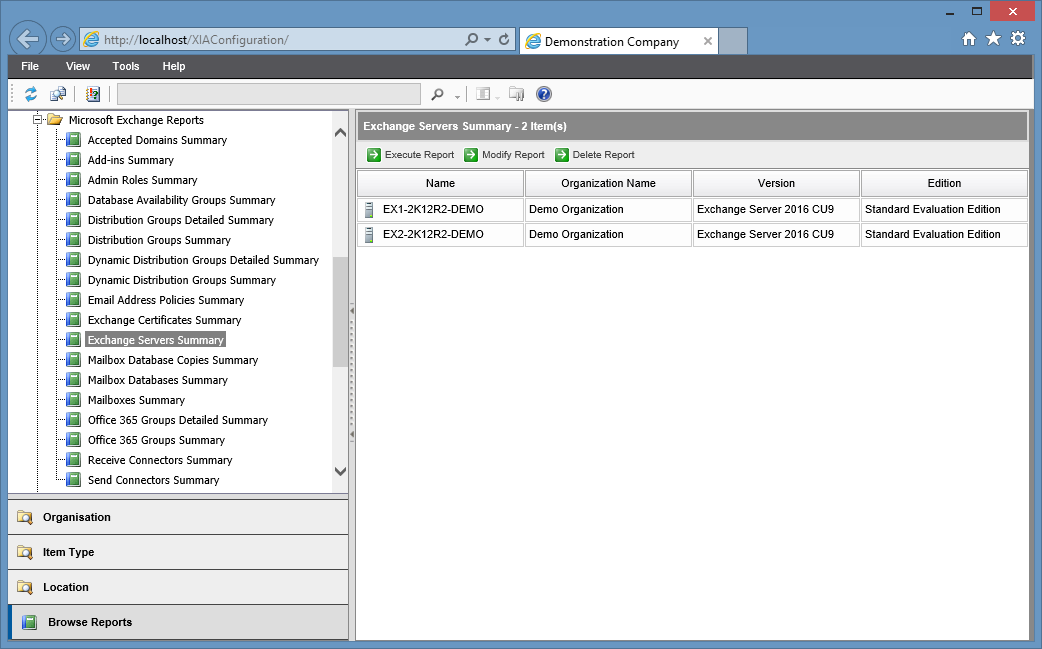 Screenshot of the Exchange Servers Summary report in the XIA Configuration web interface