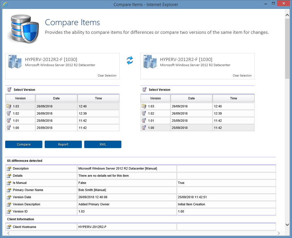 Screenshot showing the item comparison feature in the XIA Configuration web interface