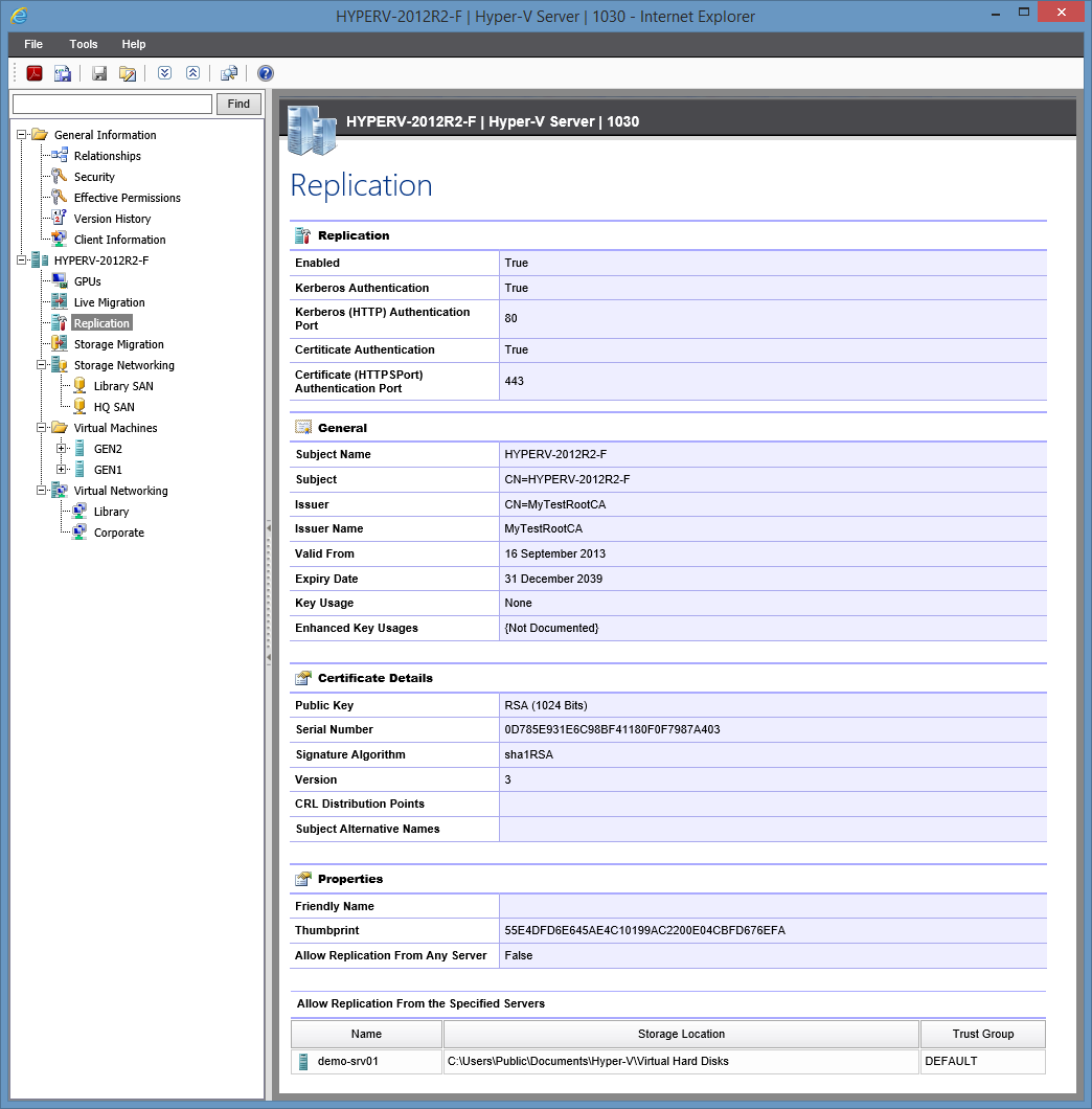 Screenshot showing Hyper-V replication settings in the XIA Configuration web interface