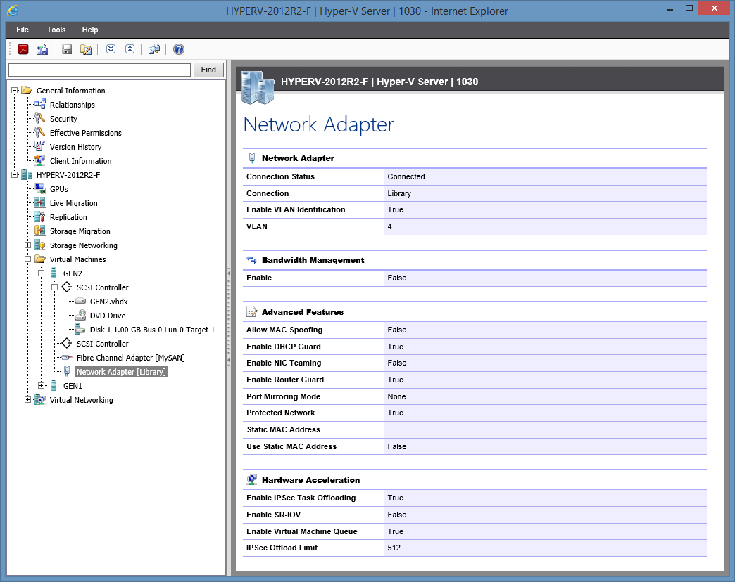 Screenshot showing Hyper-V virtual machine network adapter settings in the XIA Configuration web interface