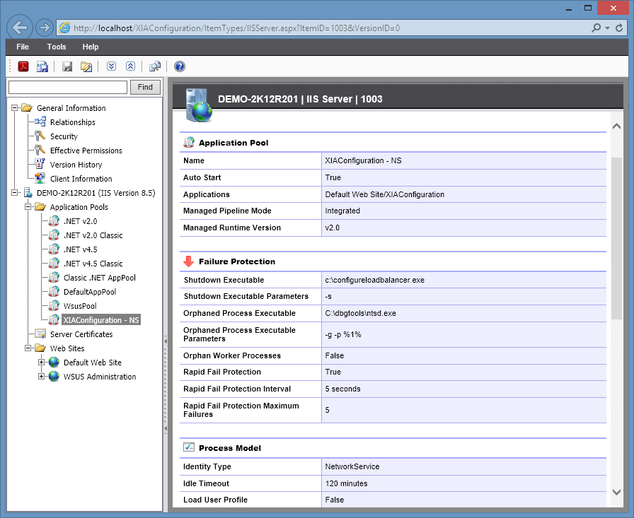 Screenshot showing IIS application pool configuration in a document generated by XIA Configuration
