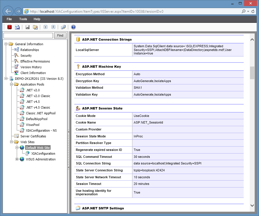 Screenshot showing ASP.NET settings in the XIA Configuration web interface