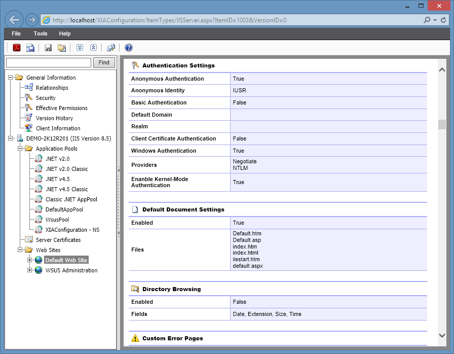 Screenshot showing IIS authentication settings in the XIA Configuration web interface
