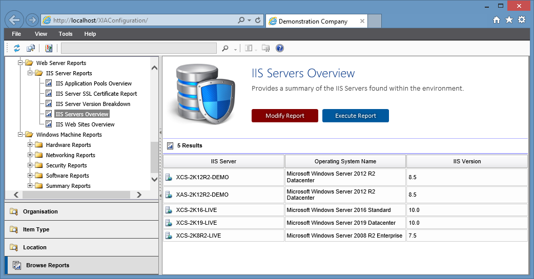 Screenshot showing the IIS servers overview report in the XIA Configuration web interface