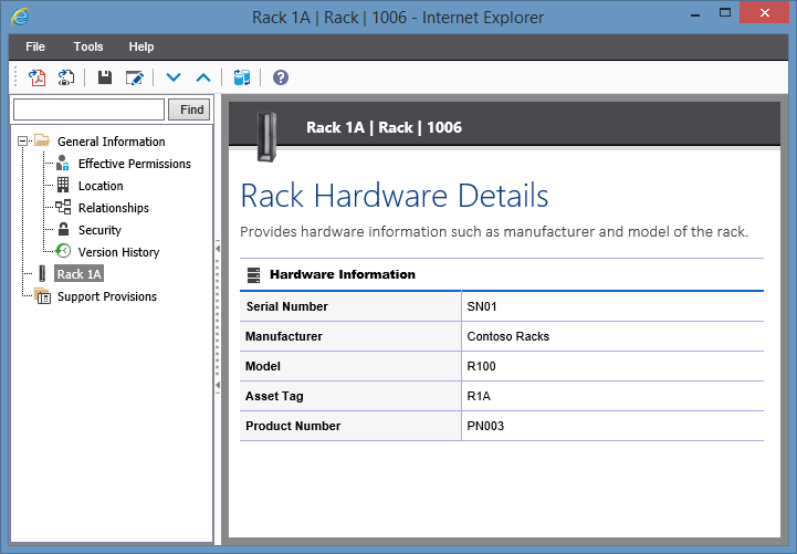 Screenshot showing rack hardware information in the XIA Configuration web interface
