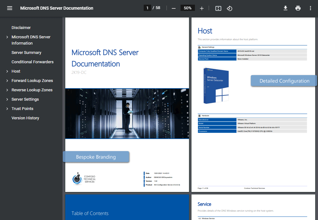 Microsoft DNS server documentation sample generated by XIA Configuration (click to open)