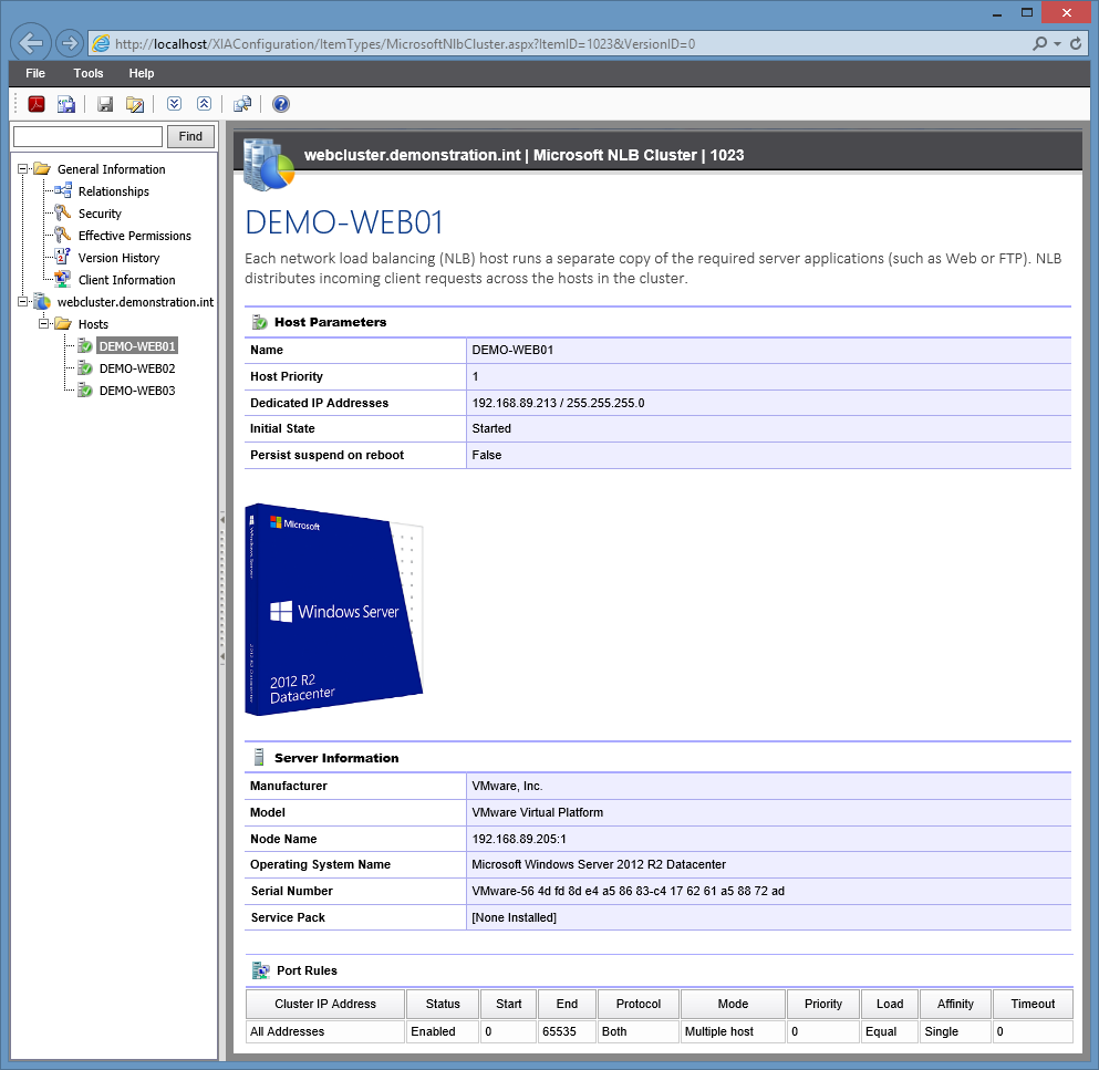 Screenshot of Microsoft NLB cluster host information in the XIA Configuration web interface