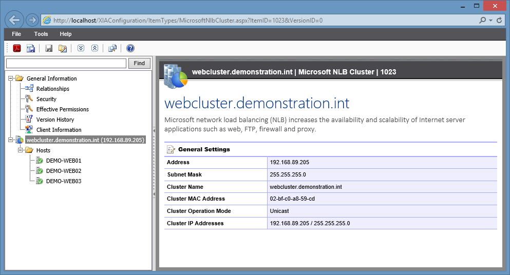 Screenshot of Microsoft NLB cluster settings in the XIA Configuration web interface