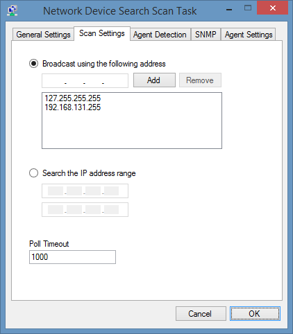 Screenshot of the Network Device Search Scan Task within the XIA Configuration Client