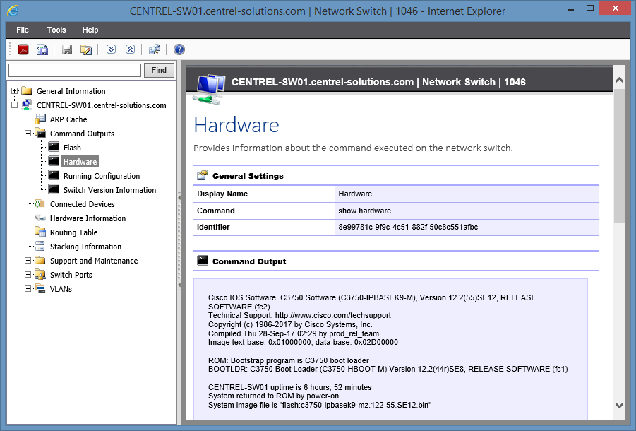 Screenshot of Hardware Command Output in the XIA Configuration web interface