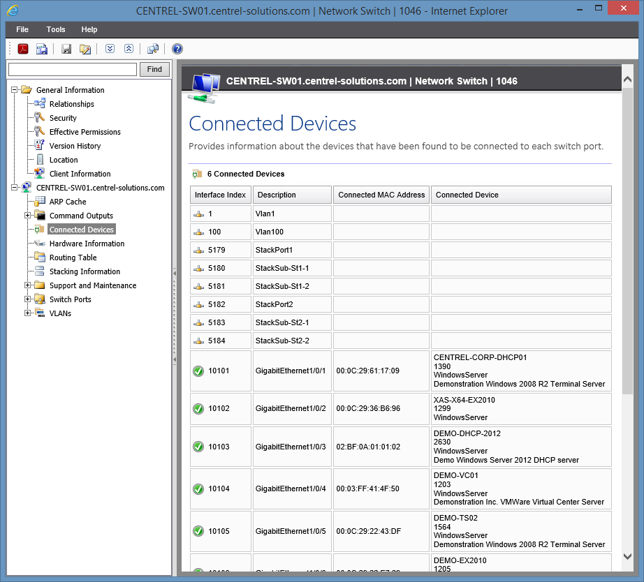 XIA Configuration Server screenshot of the devices connected to a network switch
