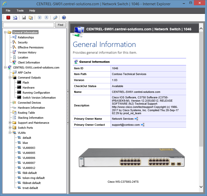 Screenshot of network switch configuration