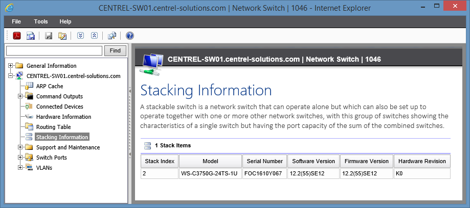 Screenshot of stacking information in the XIA Configuration web interface