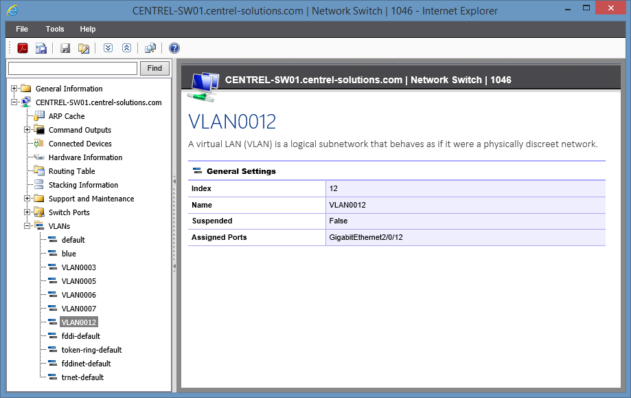 Screenshot of VLAN configuration in the XIA Configuration web interface