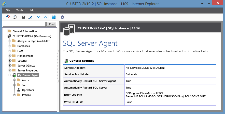 Screenshot showing SQL Server Agent settings in the XIA Configuration web interface