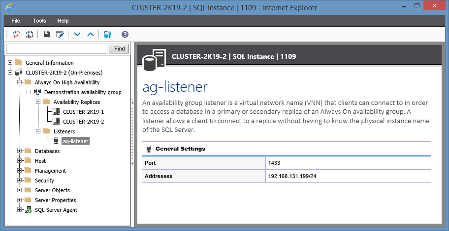 Screenshot showing Availability Group Listener settings in the XIA Configuration web interface