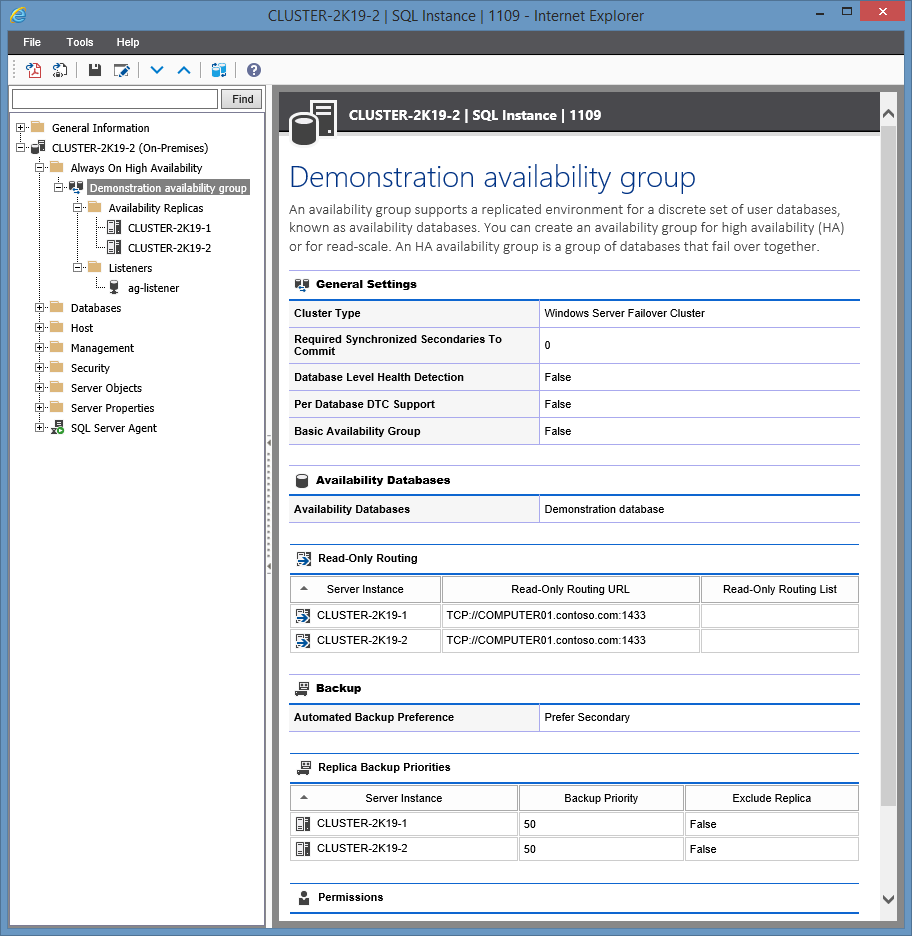 Screenshot showing Availability Group settings in the XIA Configuration web interface