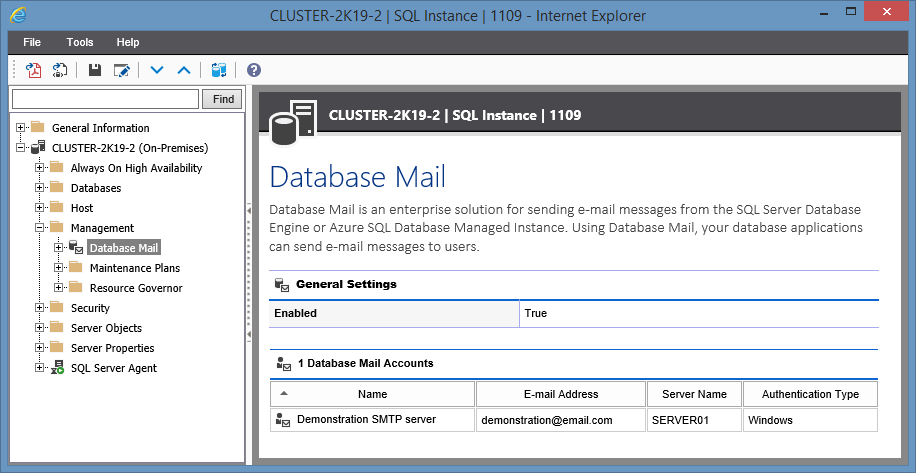 Screenshot showing Database Mail settings in the XIA Configuration web interface