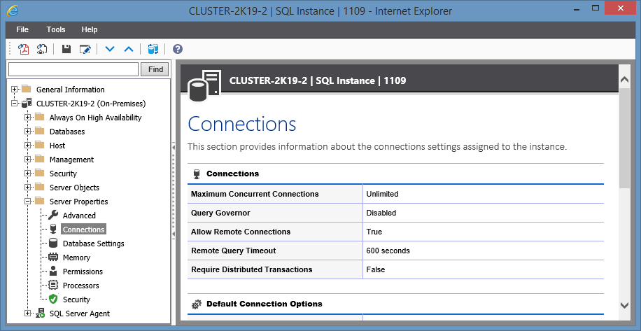 Screenshot showing Connection settings in the XIA Configuration web interface