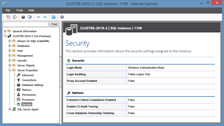 Screenshot showing Security settings in the XIA Configuration web interface