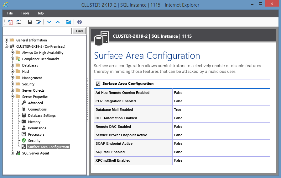 Screenshot showing Surface Area Configuration in the XIA Configuration web interface