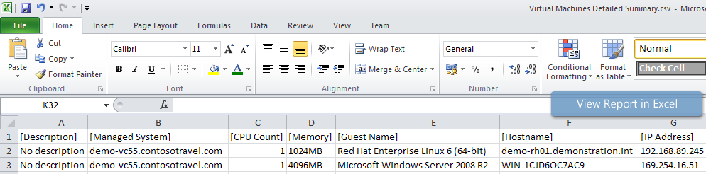 Virtual Machines Detailed Summary report viewed in Excel