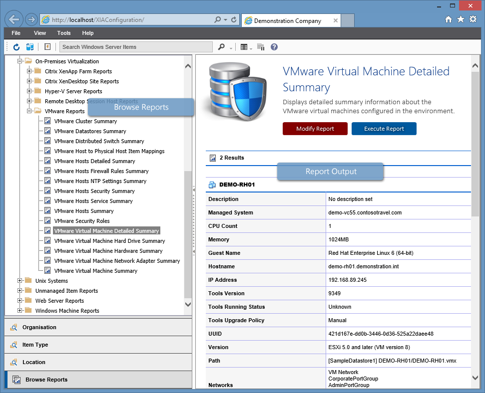 Screenshot showing VMware reports in the XIA Configuration web interface