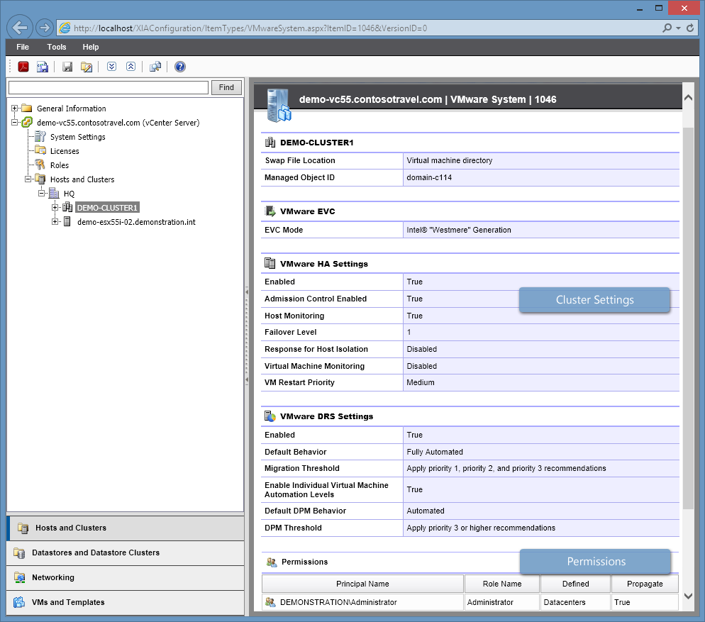Screenshot of VMware cluster details in the XIA Configuration web interface