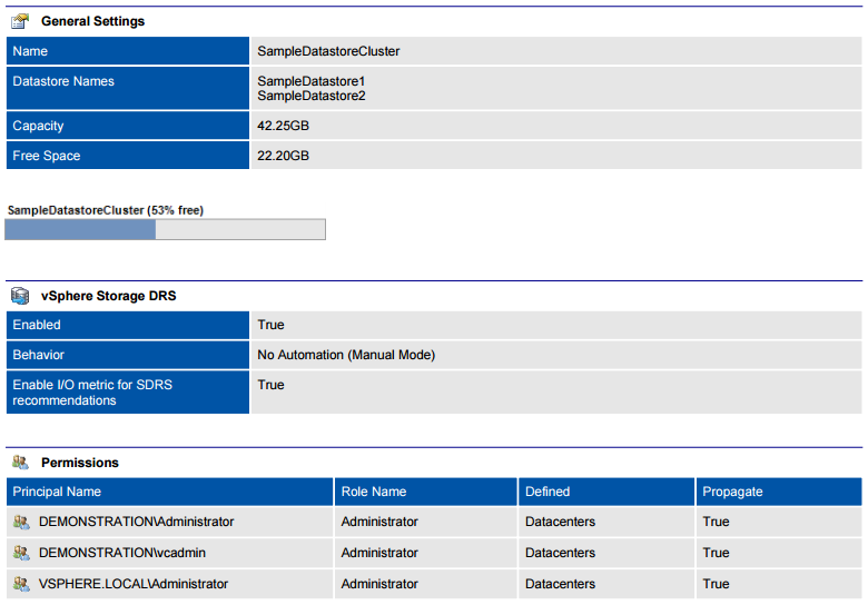Screenshot of datastore cluster configuration in a document generated by XIA Configuration