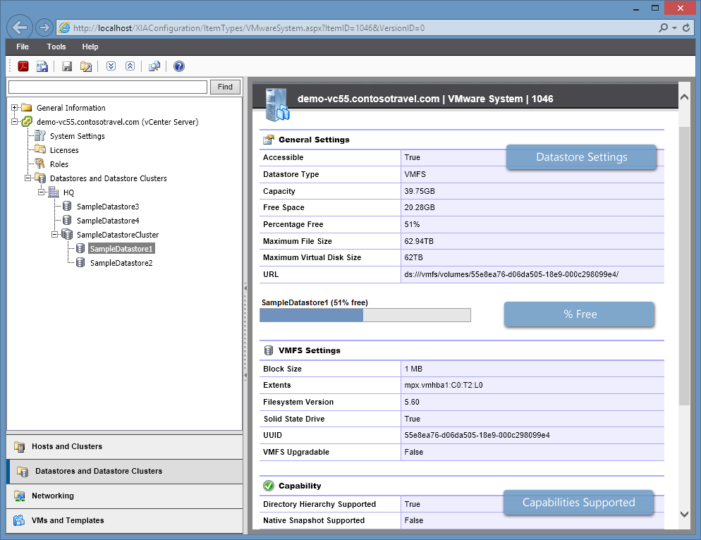Screenshot of datastore settings in the XIA Configuration web interface