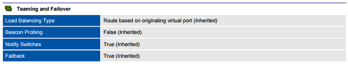 XIA Configuration PDF output screenshot of port group teaming and failover information