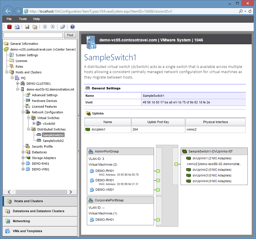 Screenshot showing VMware vSphere distributed switch settings in the XIA Configuration web interface
