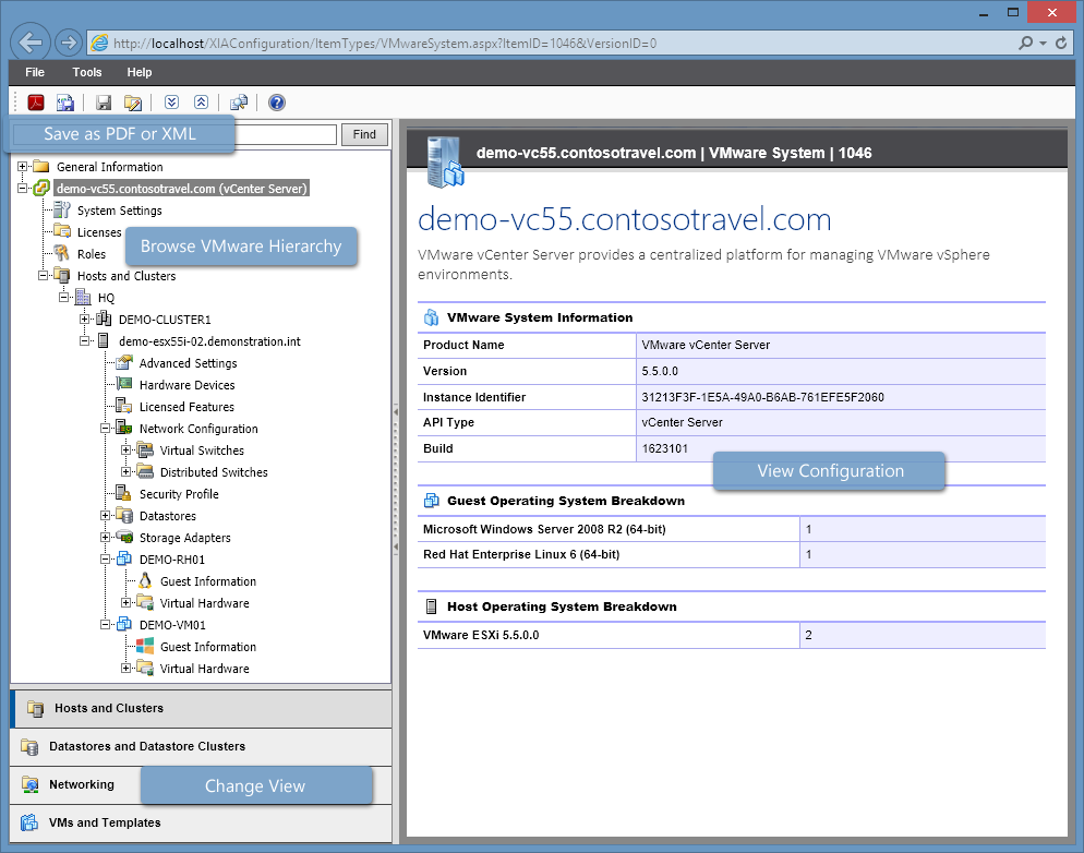 Screenshot of the VMware navigation tree and system information in the XIA Configuration web interface