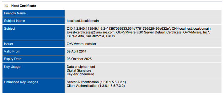 Screenshot of VMware host certificate settings in a document generated by XIA Configuration