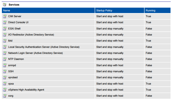 Screenshot of VMware host services in a document generated by XIA Configuration