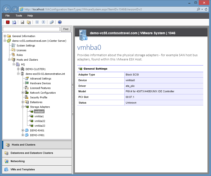 Screenshot of VMware host storage adapters in the XIA Configuration web interface
