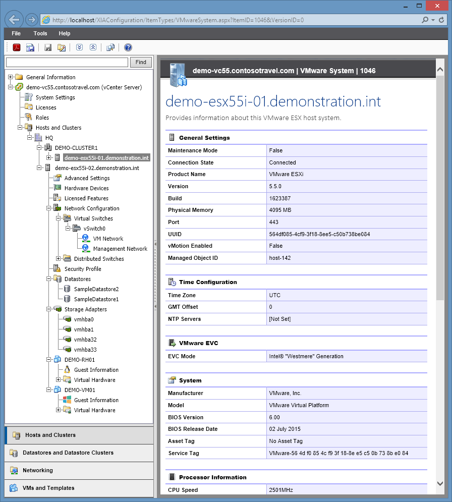 Screenshot of VMware host settings in the XIA Configuration web interface