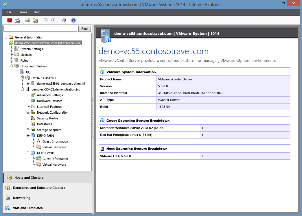 Screenshot of the VMware navigation tree and inventory information in the XIA Configuration web interface