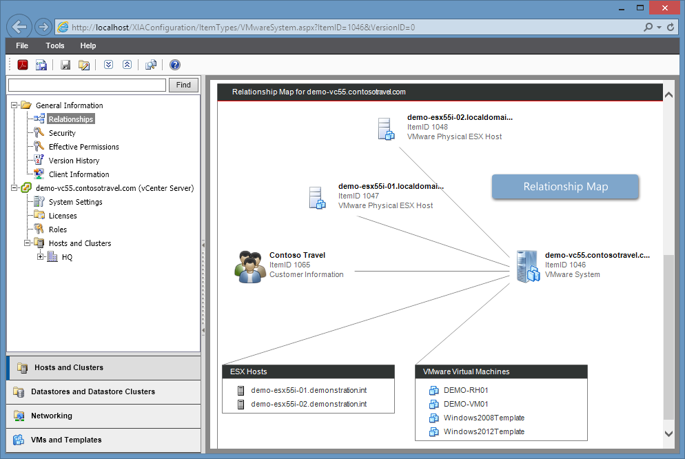 Screenshot of a VMware relationship map in the XIA Configuration web interface