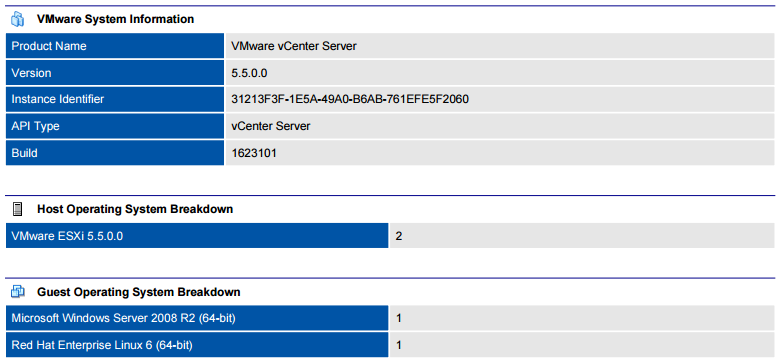 Screenshot of VMware general system information in a document generated by XIA Configuration