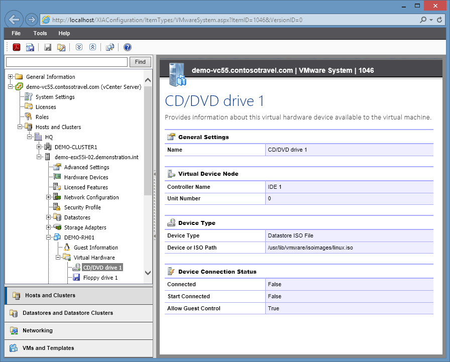 XIA Configuration Server screenshot of CD/DVD drive information