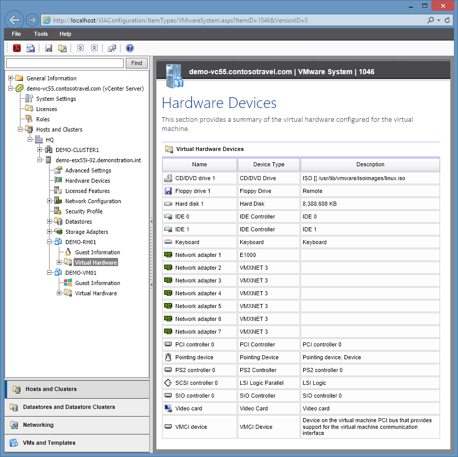 XIA Configuration Server screenshot of virtual hardware information