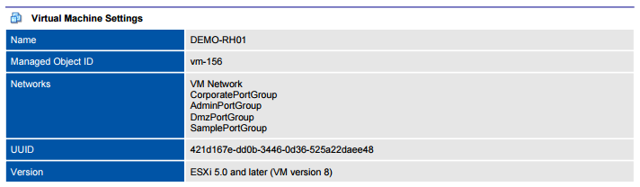 XIA Configuration PDF output screenshot of VMware virtual machine settings