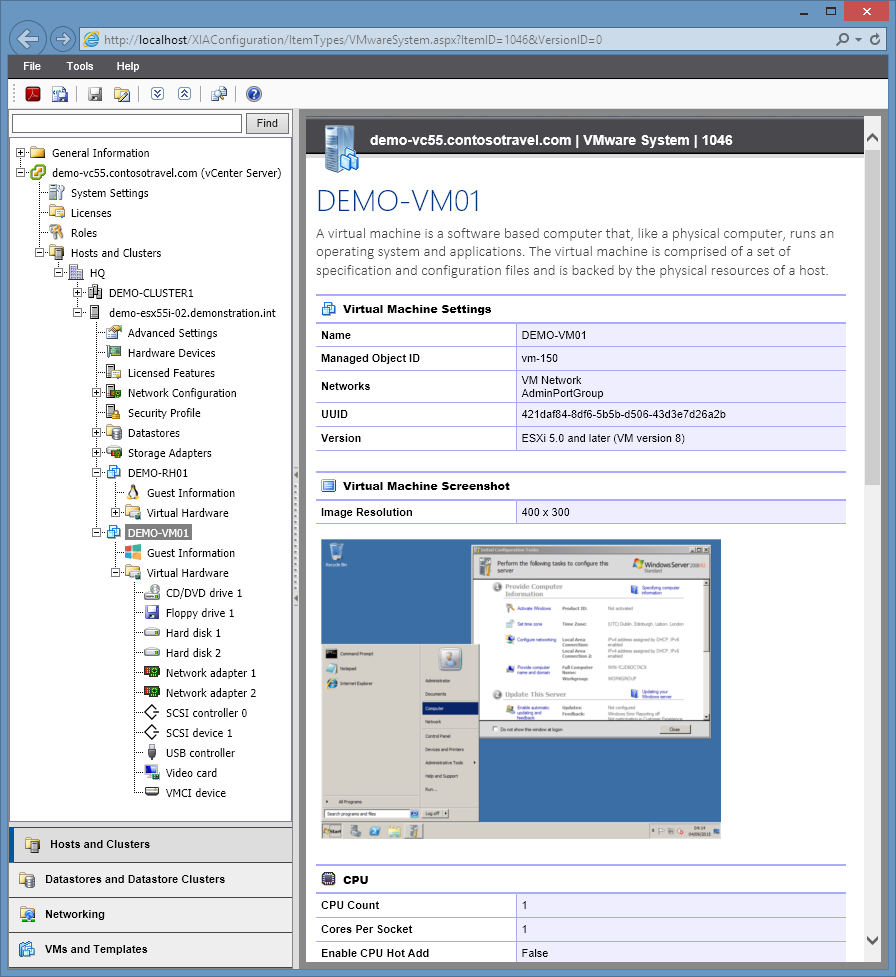 Screenshot of VMware virtual machine settings in the XIA Configuration web interface