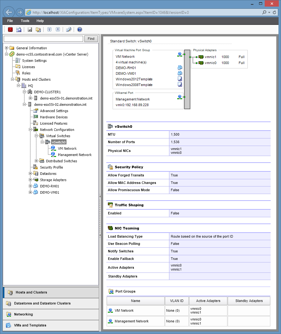 Screenshot of virtual switch configuration in the XIA Configuration web interface