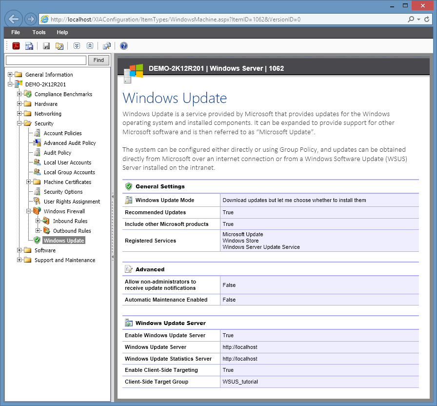 Screenshot of Windows update settings in the XIA Configuration web interface