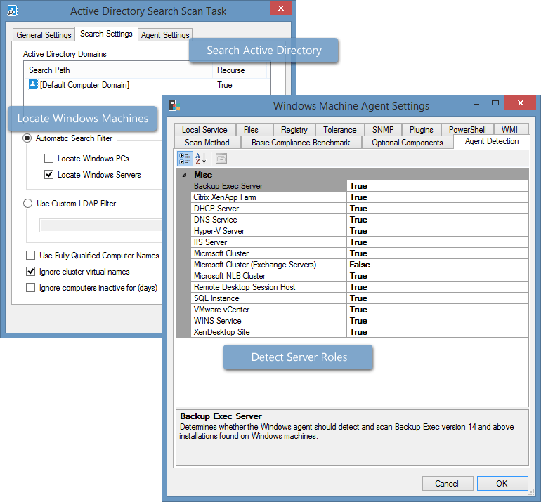 Screenshot of Active Directory search and detection settings in the XIA Configuration Client