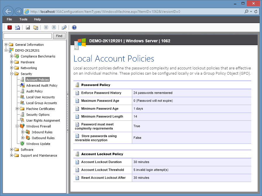 Screenshot of local account policies in the XIA Configuration web interface