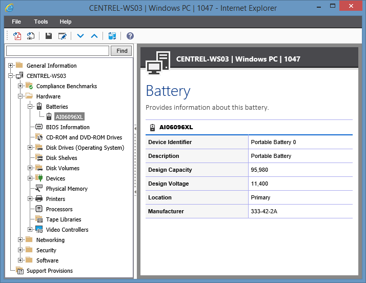 Screenshot showing Battery information in the XIA Configuration web interface