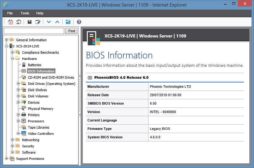 Screenshot showing BIOS information in the XIA Configuration web interface